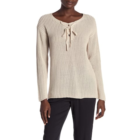 Michael Stars Beige Womens Size Large L Knitted Lace Up Sweater