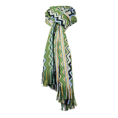 Missoni Green Hues Long Zigzag Fringe Scarf - 16-71