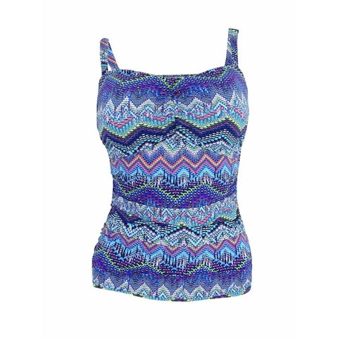 Profile by Gottex Women's Printed Ruched D-Cup Tankini Top (32D, Multi) - Multi - 32D