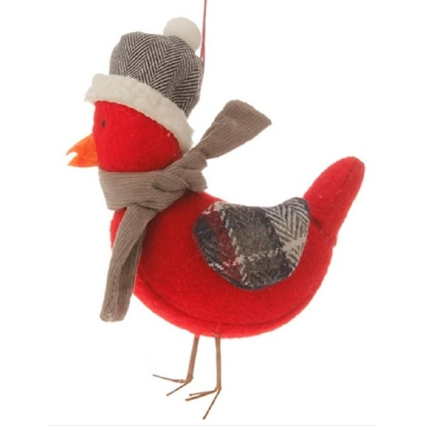 """4.75"""" Alpine Chic Red Bird with Gray Scarf and Plaid Wings Christmas Ornament"""