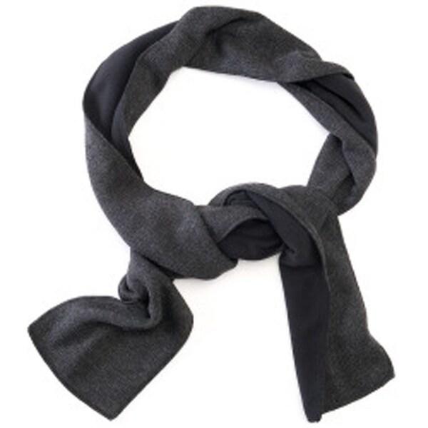 Izod Adult Unisex Reversible Fleece Scarf Black/Charcoal One Size - One Size