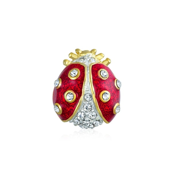 8c7f2098ad11c Lucky Ladybug Red Gold Plated Enamel Crystal Insect Lapel Push Pin