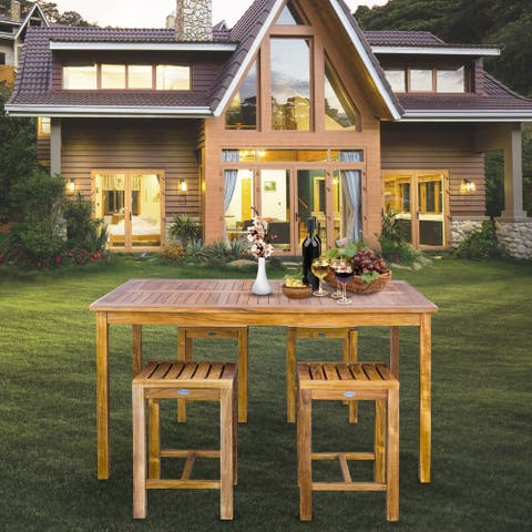 """Chic Teak 5 Piece Teak Wood Antigua Patio Counter Height Bistro Set with 63"""" Rectangular Table and 4 Stools"""