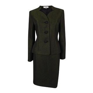 Le Suit Women's Monte Carlo Metallic Trim Skirt Suit - Black Shimmer