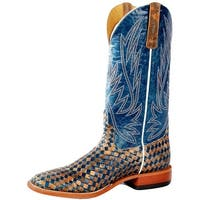 Horse Power Western Boots Mens Weave Detailed Blue Copper