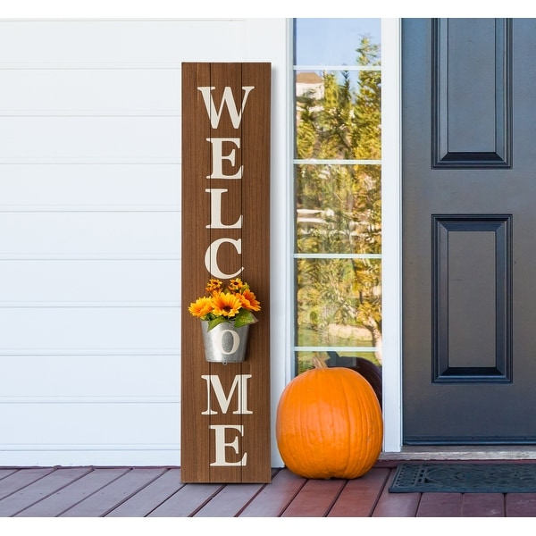 """42""""H Wooden WELCOME Porch Sign with Metal Planter by Glitzhome. Opens flyout."""