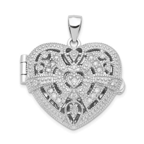 Sterling Silver CZ Design Heart Locket Pendant with 18-inch Cable Chain By Versil