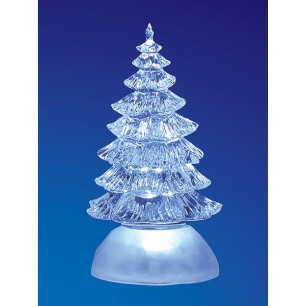 Pack of 4 Icy Crystal Illuminated Traditional ChristmasTree Figurines 7""