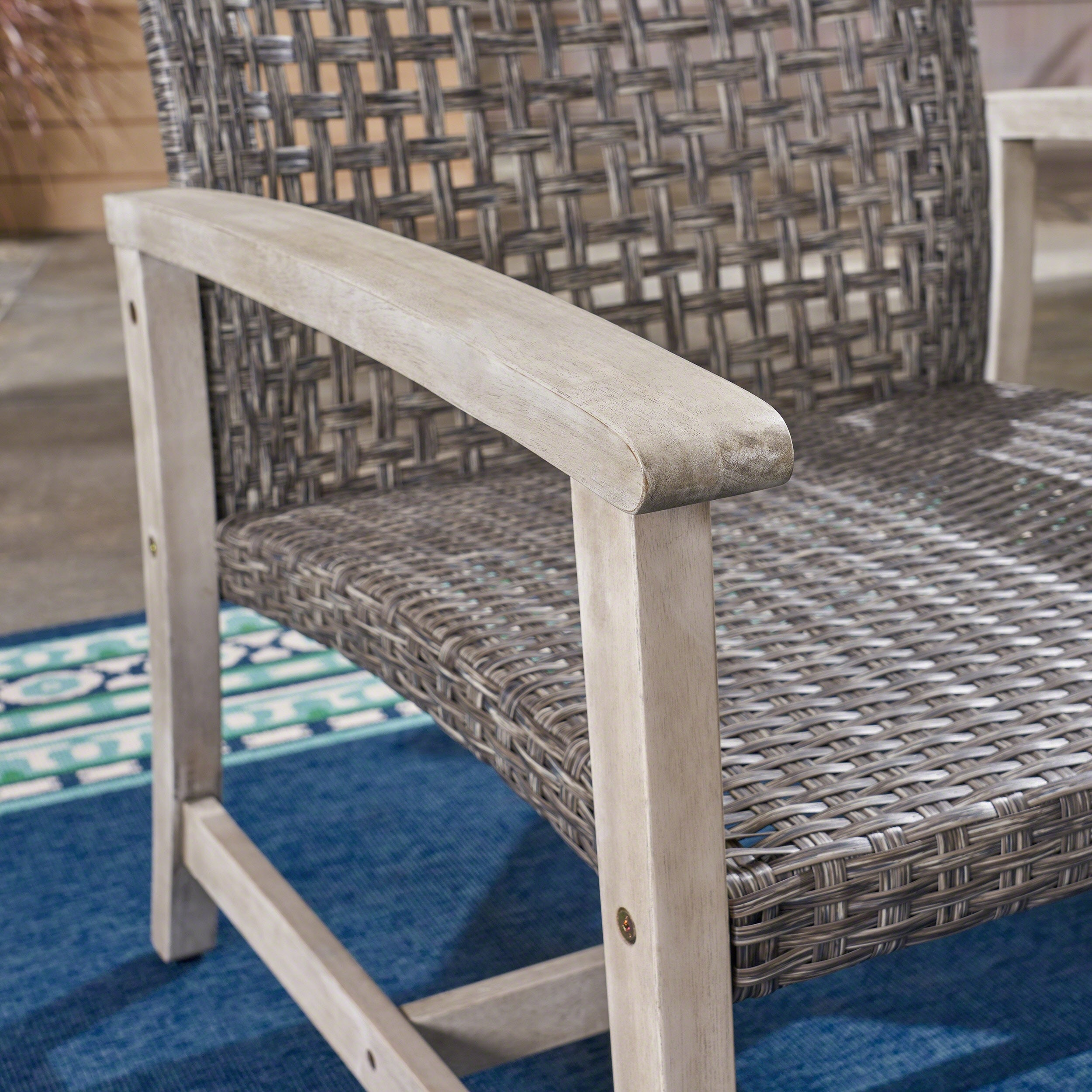 Picture of: Hampton Outdoor Mid Century Wicker Club Chair Set Of 2 By Christopher Knight Home Overstock 16983327 Grey Mixed Black