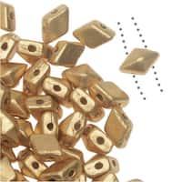 Czech Glass DiamonDuo Mini, 2-Hole Diamond Shaped Beads 4x6mm, 8 Grams, Matte Gold