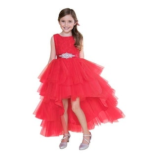 Girls Red Lace Tulle Jeweled Waist Hi-Low Junior Bridesmaid Dress