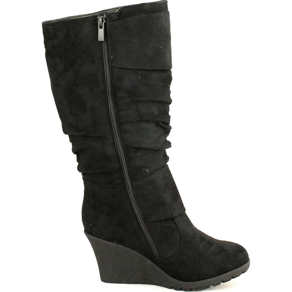 TOP Moda Pure-65 Womens Buckle Slouch Wedge Boots