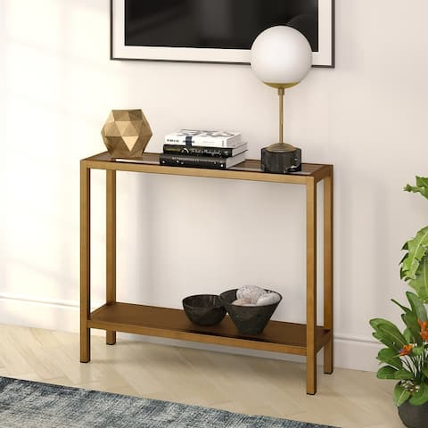 Rigan Metal and Glass Modern Console Table