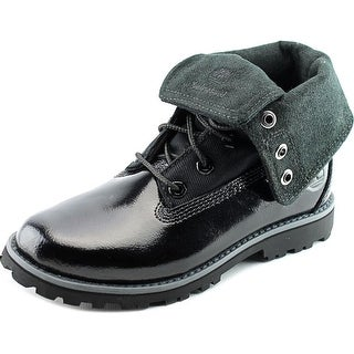 Timberland Auth Folddown Men Round Toe Leather Black Combat Boot