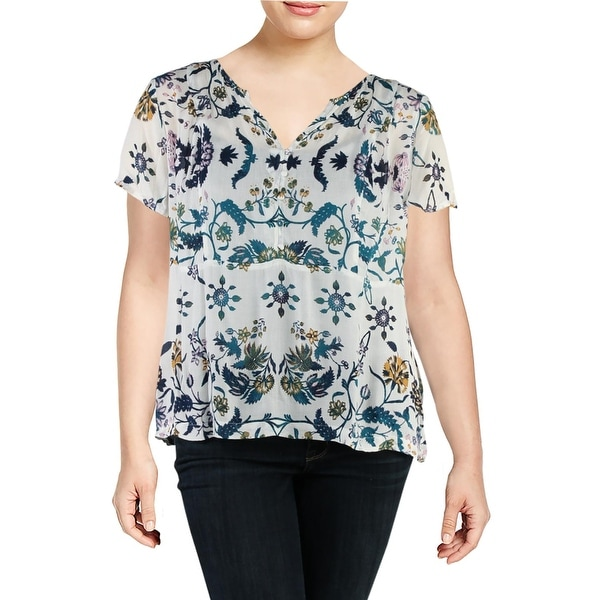 e33fb84f264 Shop Lucky Brand Womens Plus Peasant Top Open Shoulder Floral Print - 1X -  Free Shipping On Orders Over  45 - Overstock - 25688867