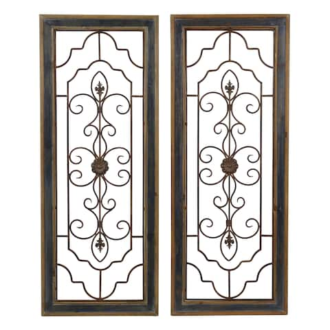 Aspire Home Accents 5759 Grace Two Piece Iron Grace Wall Sculpture Set with Wood Frame