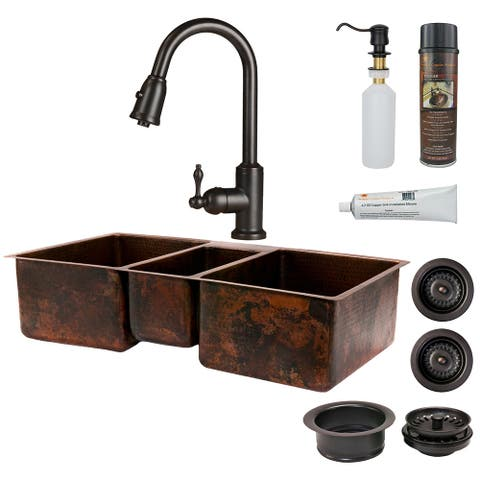 Premier Copper Products KSP2_KTDB422210 Kitchen Sink, Pull Down Faucet and Accessories Package