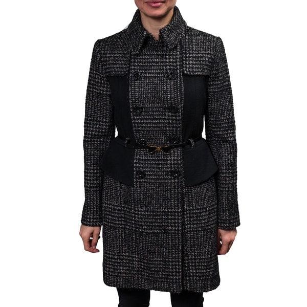 Betsey Johnson Women's Houndstooth Wool Coat