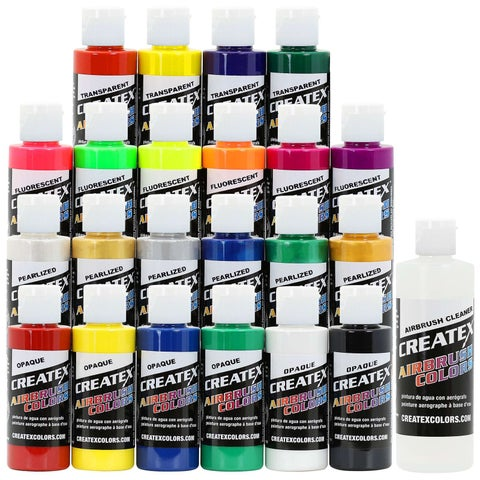Createx Colors Airbrush Paint - 22 Colors - 2 oz and Cleaner