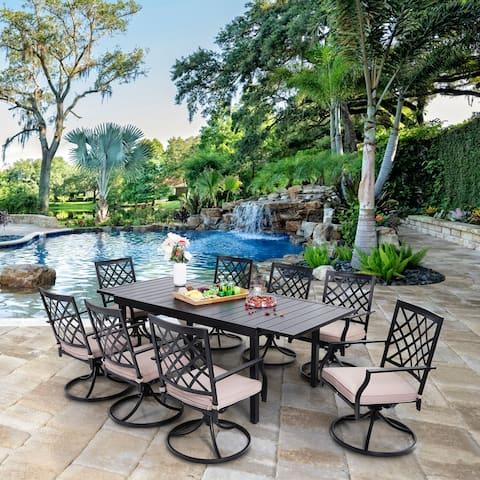 MFSTUDIO 7/9 PCS Outdoor Patio Dining Set, 6/8 Armrest Stackable Swivel Chairs
