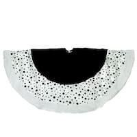 "48"" Black and White Glittered Polka Dot Christmas Tree Skirt with White Faux Fur Trim"