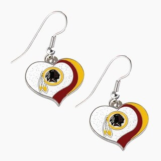 Washington Redskins NFL Glitter Heart Earring Swirl Charm Set