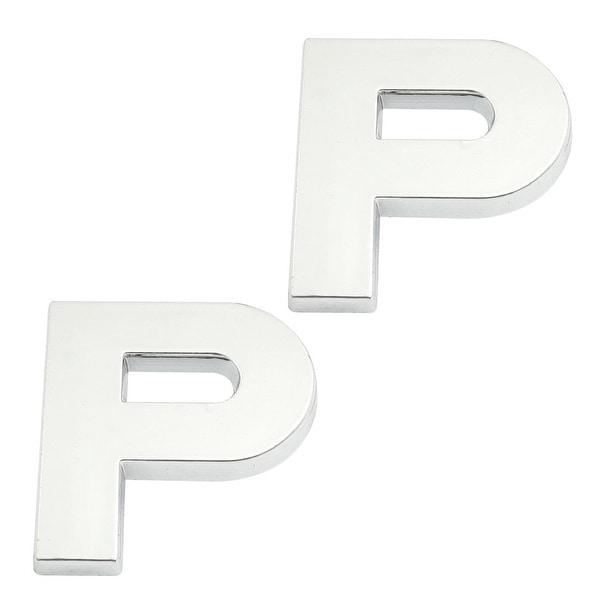 Unique Bargains 2 Pcs Self Adhesive Plastic Letter P Car 3D Emblem Badge  Decor Silver Tone
