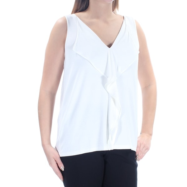 23274d919c8 TOMMY HILFIGER Womens Ivory Ruffled Sleeveless V Neck Top Size: L