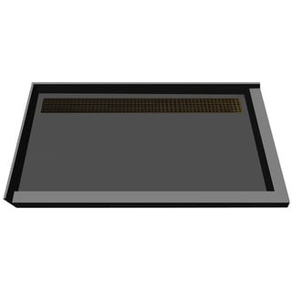 "Tile Redi RT4872BDR-PVC  Redi Trench 72"" X 48"" Corner Shower Pan with Double Curb and 2"" Rear Drain"