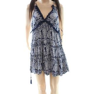 Angie NEW Blue Women's Size Medium M Printed V-Neck Empire Waist Dress