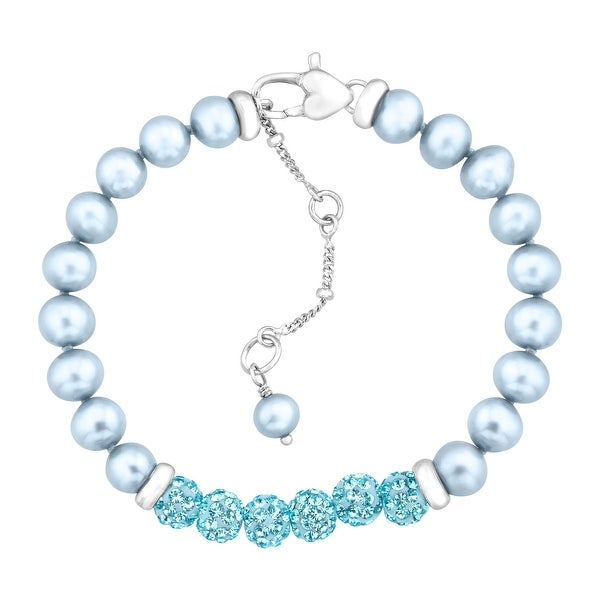 Crystaluxe Girl's Blue Freshwater Pearl Bracelet with Swarovski Crystals in Sterling Silver