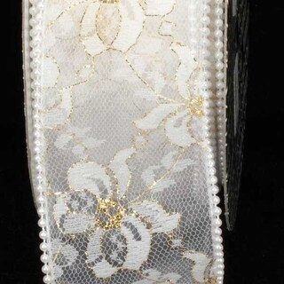 """Designer Pure White Wired Pearl Edge Lace Craft Ribbon 2.5"""" x 20 Yards"""