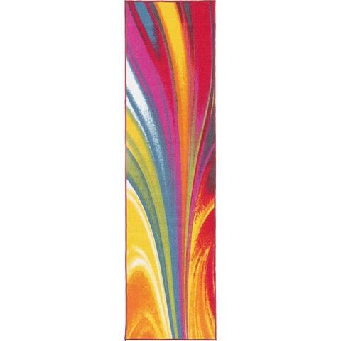 Modern Contemporary Waves Multicolored Non-slip Non-skid Area Rug