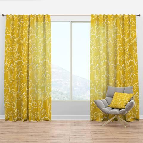 Designart 'Butterflies hand drawn color pattern' Mid-Century Modern Curtain Panel