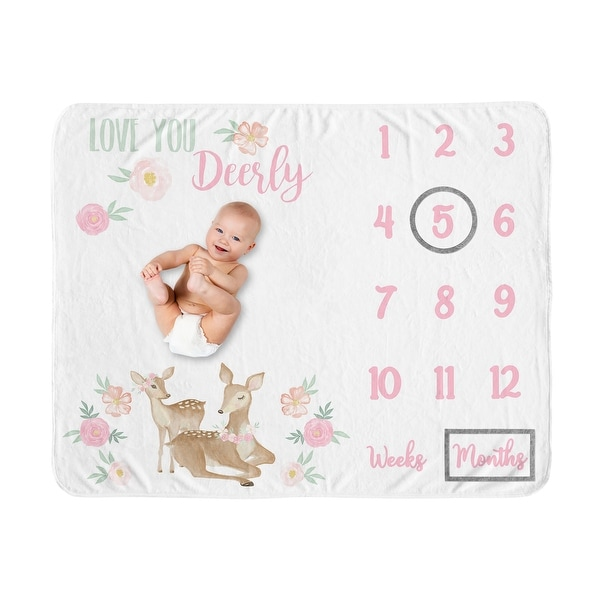 Woodland Deer Collection Girl Baby Monthly Milestone Blanket - Blush Pink and Mint Green Boho Watercolor Forest Love You Deerly. Opens flyout.