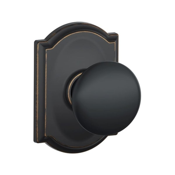 Schlage F10-PLY-CAM Passage Plymouth Door Knobset with the Decorative Camelot Rose