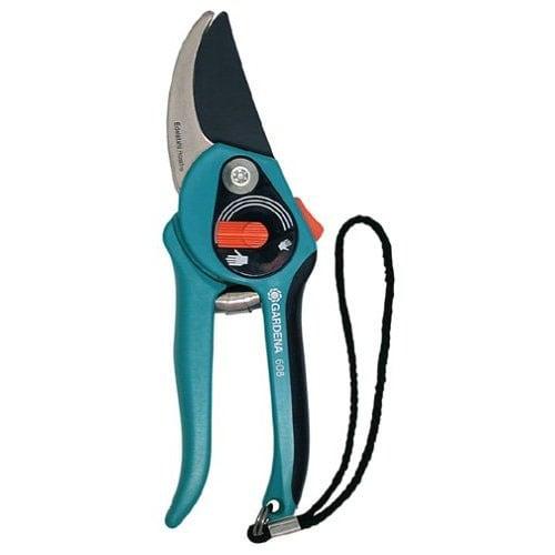 Gardena 30608 Adjustable Grip Carbon Steel Branch Cutter Bypass Pruner - Blue