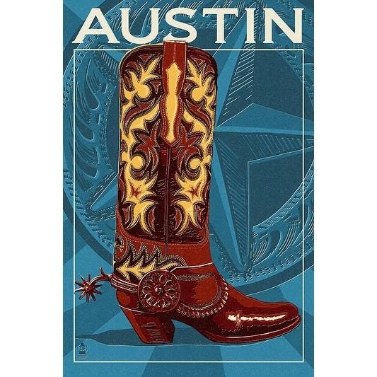 Austin,Texas - Boot - Letterpress - Lantern Press Artwork (Acrylic Serving Tray)