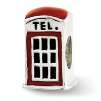 Sterling Silver Reflections Enameled Telephone Booth Bead (4mm Diameter Hole)