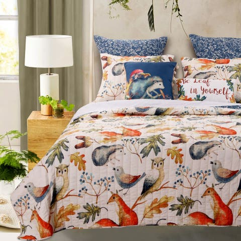 Porch & Den Morilon Forest Wildlife Quilt Set
