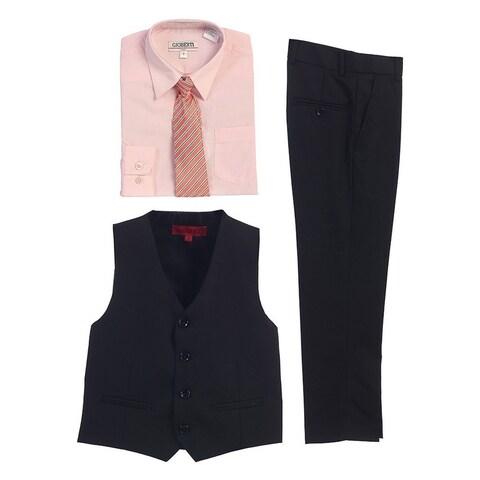 Gioberti Pink Black Vest Pants Striped Tie Shirt 4 Pc Formal Set