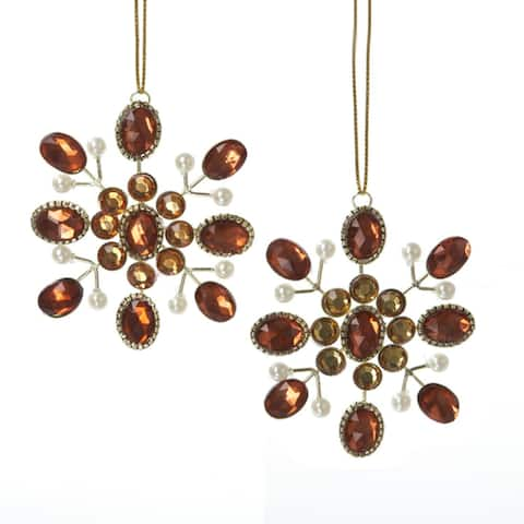 """24 Vintage Style Faceted Brown & Amber Jeweled Snowflake Christmas Ornaments 3"""""""