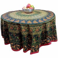 Cotton Elephant Mandala Floral Print Tablecloth Round 81 inches Blue Turquoise Red Green Orange - 81 inches