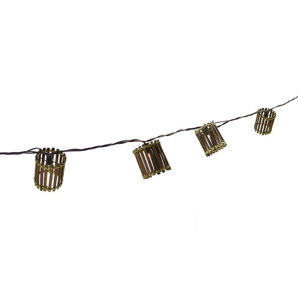 Set of 10 Brown Bamboo LED Lantern Patio and Garden Novelty Christmas Lights - Brown Wire