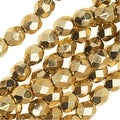 Czech Fire Polished Glass Beads 6mm Round 'Aurum Gold' (25) - Thumbnail 0