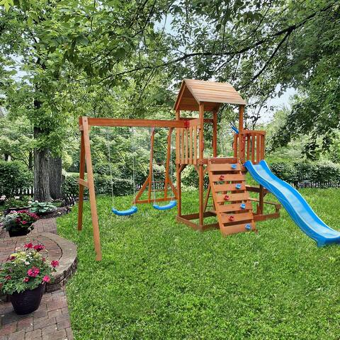 ALEKO Outdoor Playset with Canopy, Slide, Swing, Monkey Bar, Climbing Wall - Multicolor