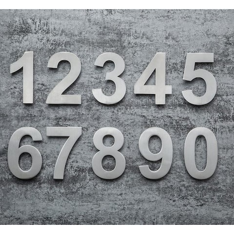QT Modern House Number - LARGE 8 Inch - Brushed Stainless Steel