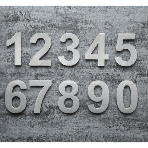 QT Modern House Number - SUPER LARGE 12 Inch - Brushed Stainless Steel - Brushed Finish / 0