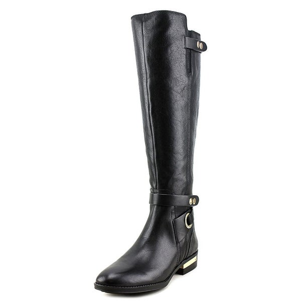 Vince Camuto Prini Women Round Toe Leather Black Knee High Boot