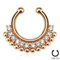 Paved Gem Fan Rose Gold IP Non-Piercing Fake Septum Ring (Sold Individually) - Thumbnail 0
